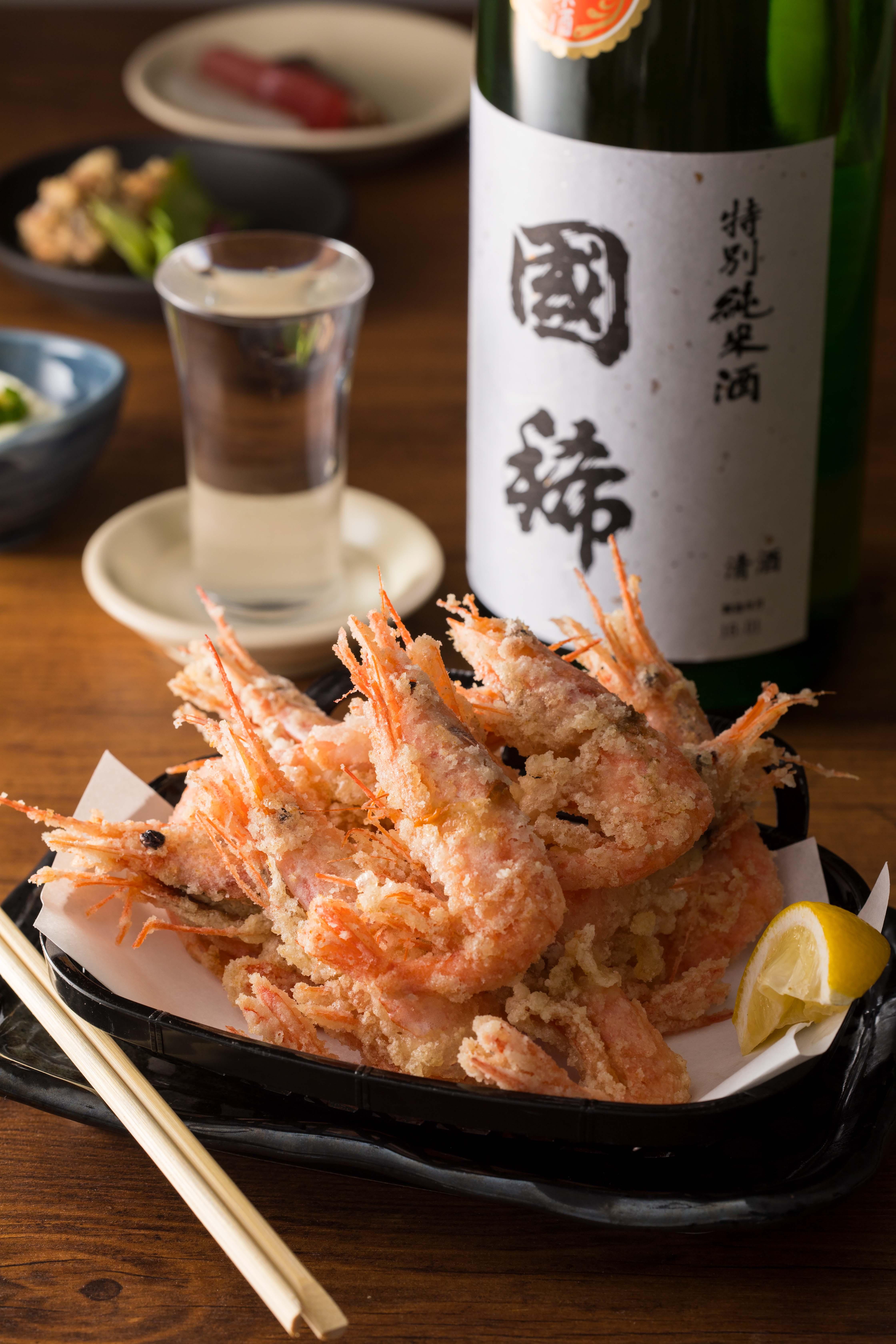北海道 増毛産 甘海老の刺身&「颯と」唐揚げの画像